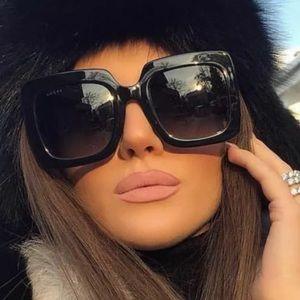 Black Flat Top Oversized Square Sunglasses